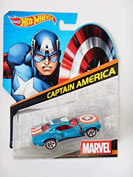 Hot Wheels 1:64 Marvel Die-Cast Car - Captain America No 2/12, Multi Color