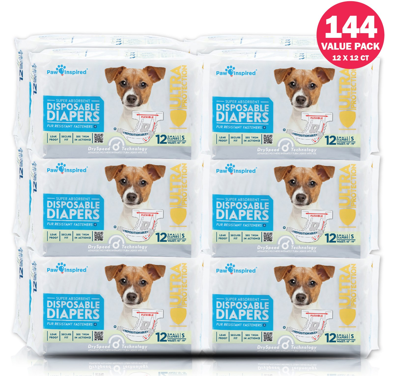 Paw Inspired Ultra Protection Female Disposable Dog Diapers Bulk (Small, 144 Count)