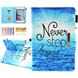 """Dteck Folio Universal Case for 6.5-7.5 Inch Tablet - [Anti-Slip Stand] PU Leather Pretty Wallet Case Cover for Samsung Tab/Kindle Fire 2019/LG G Pad/Lenovo Tab/Android 7.0 Inch 7"""" Tablet-Never Stop"""