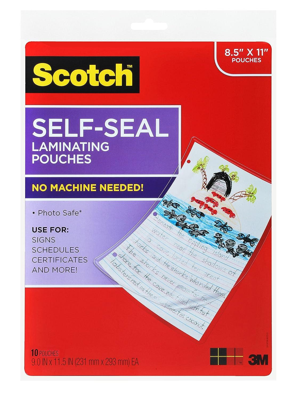 Amazon.com : Scotch Self-Sealing Laminating Pouches LS854-10G, Gloss ...