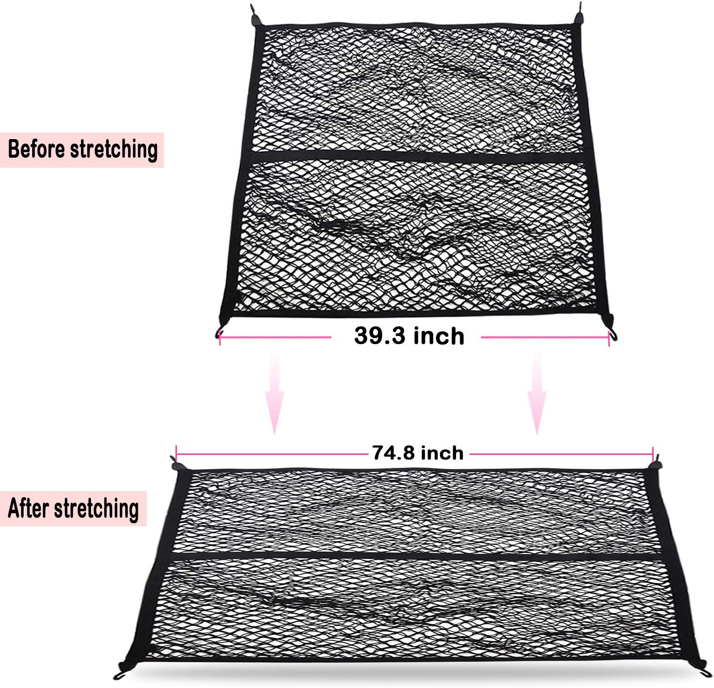 omotor Cargo Net for 2020 Jeep Gladiator JT,Double-net Rear Car Organizer Net Truck Net Stretchable,Suitable for Most Trucks