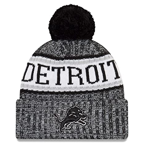 separation shoes a68c6 a1099 Image Unavailable. Image not available for. Color  New Era Knit Detroit  Lions Black On Field Sideline Winter Stocking Beanie Pom Hat Cap 2015