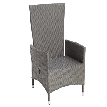 Moderner Gartenstuhl NIZZA Liegestuhl Rattan Grau Brushed Wetterfest  Outdoormöbel Stuhl Verstellbar