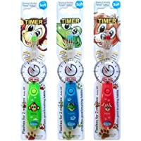 Children's Toothbrush with Flashing Timer - Pack of 3 for Boys - Club Cutie