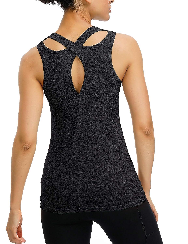 Sport e Yoga Ideale per Yoga Corsa Maglietta da Donna a Maniche Corte iWoo Allenamento
