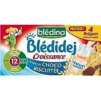 Blédina Blédidej Croissance Céréales Lactées Saveur Choco-Biscuitée dès 12 mois 4 x 250 ml - Pack de 3