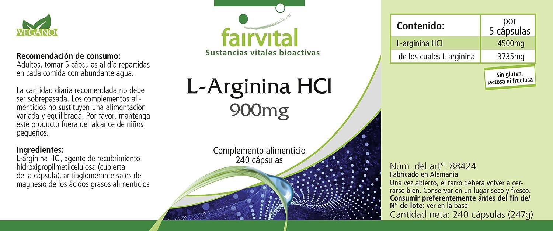L-Arginina HCl 900 mg - durante 48 días - VEGAN - ALTA DOSIS - 240 cápsulas: Amazon.es: Salud y cuidado personal