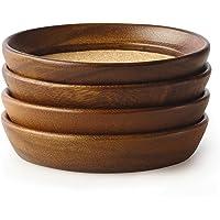 Kamenstein 5186008 4 Piece Acacia Wood and Cork Coaster Set, Natural