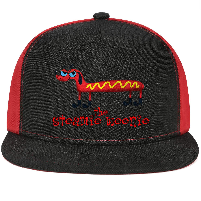 Unisex Mesh Snapback Cap National Hot Dog Day Red Brim Hip Hop Baseball Hats