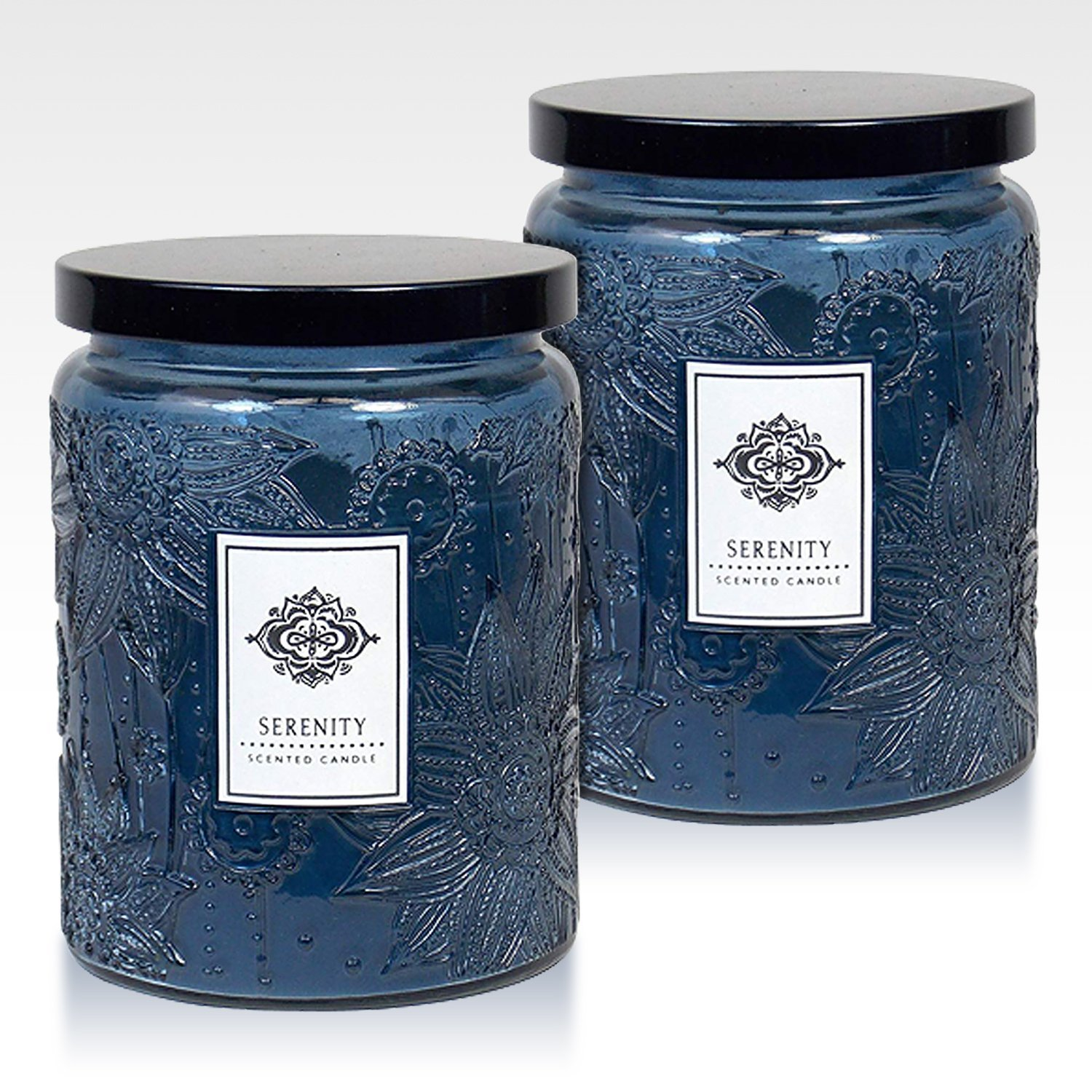 Dynamic Collections Aromatherapy Scented Candles - Great for Minimalistic Home Decor, Stress Relief, and Gift Set of Two 16 Ounce Mason Jar Candles (Serenity)