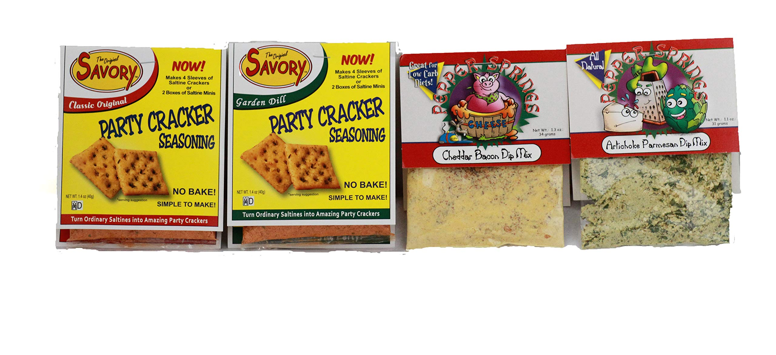 Savory Fine Foods Saltine Seasoning and Pepper Springs Dip Mix Party Variety Pack (4 total)