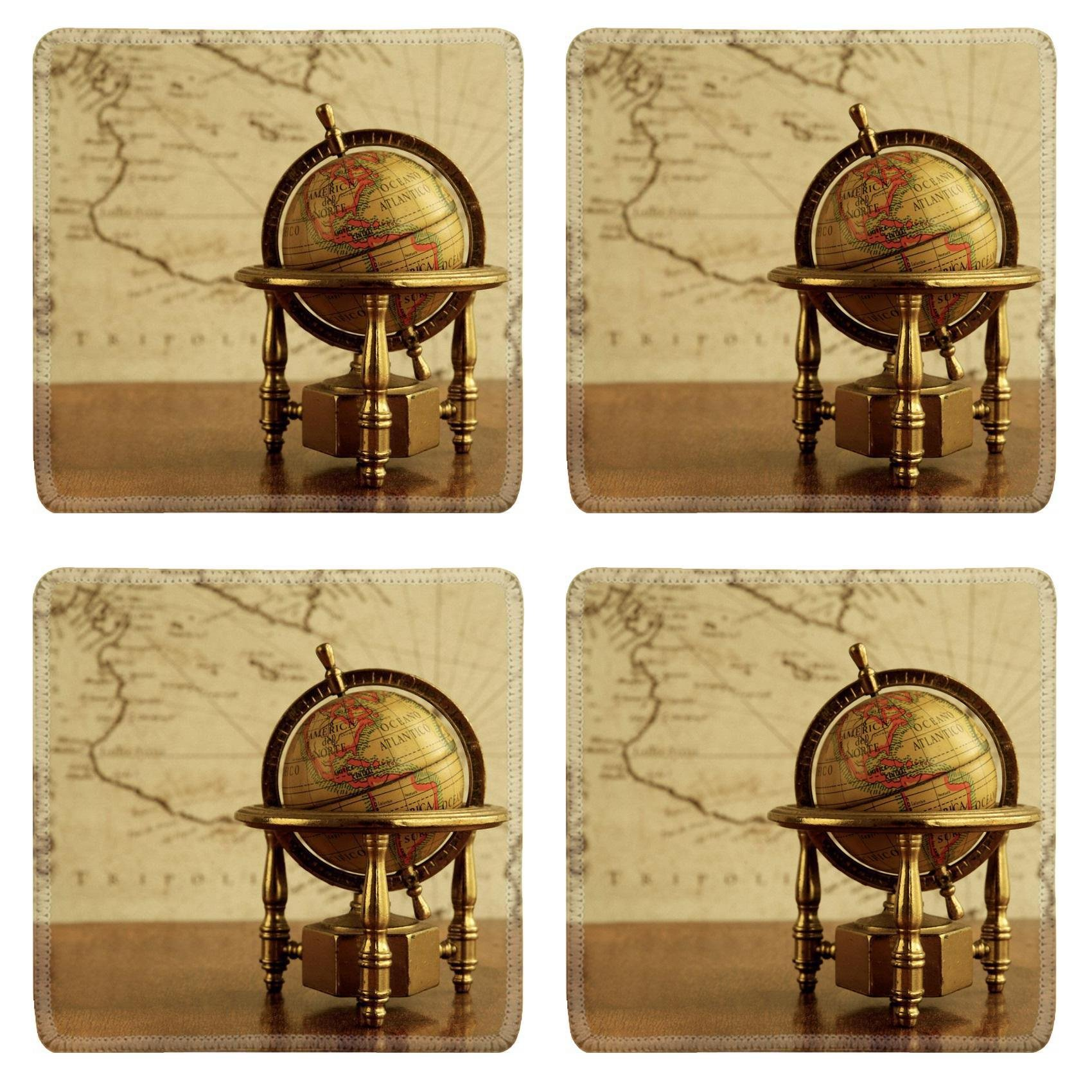 MSD Square Coasters Non-Slip Natural Rubber Desk Coasters design 14990912 Globe against map on a wall