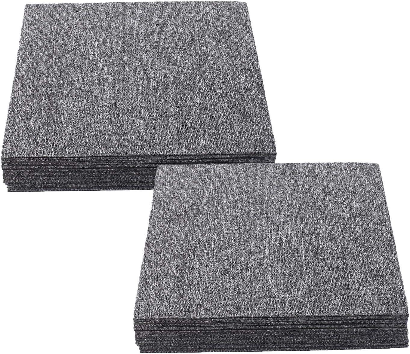 Nisorpa Commercial Carpet Floor Tiles Dark Grey 20x20 inch 20pcs Pack Washable Carpet Floor Tiles Heavy Duty Carpet Squares Bitumen Backed for Indoor Home Office Apply