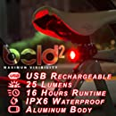 Bold II Bicycle Tail Lights, Super Bright Rear USB Taillight Runs for 16 Hours, Fits All Mountain Bikes, Road Bicycle, Backpacks, Waterproof & Install in Seconds