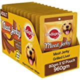 Pedigree Meat Jerky Adult  Dog Treat, Grilled Liver, 12 Packs (12 x 80g)