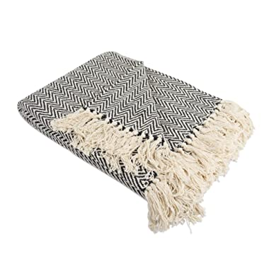 DII Rustic Farmhouse Cotton Chevron Blanket Throw with Fringe for Chair, Couch, Picnic, Camping, Beach, Everyday Use, 50 x 60 - Mini Chevron Black