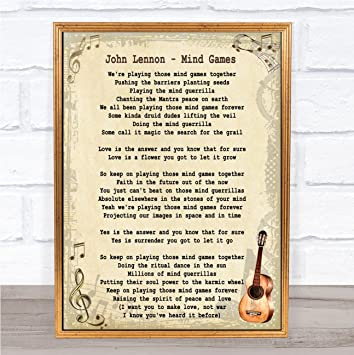 Amazon Com Mind Games Song Lyric Vintage Quote Print Office Products