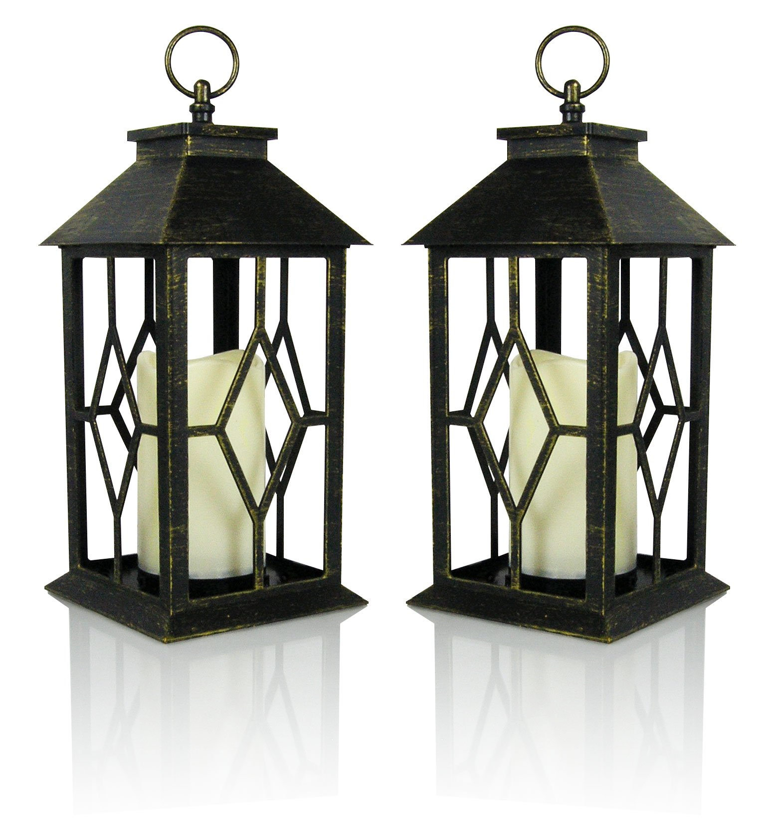 Banberry Designs Decorative Candle Lantern - Set of 2 Brushed Faux Finish Lantern Set - LED Candle Included - 5 Hour Timer