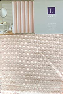Lush Decor Fabric Shower Curtain Geometric Mesh Texture Pattern in Pink with White Thread - Brielle, Blush
