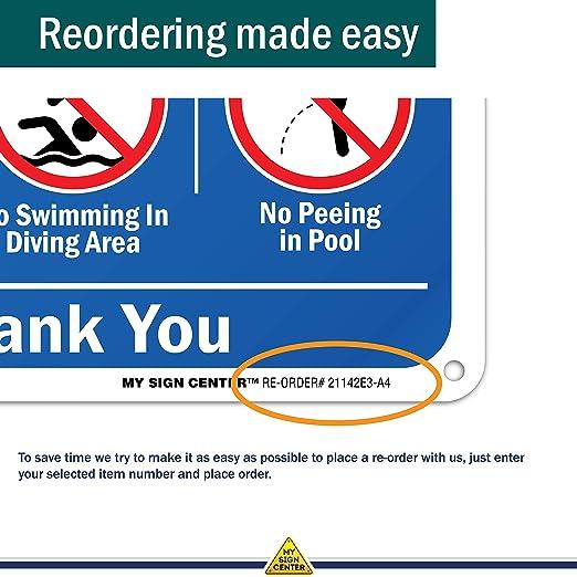 Amazon.com: Reglas de piscina – sin correr, empujar, señal ...