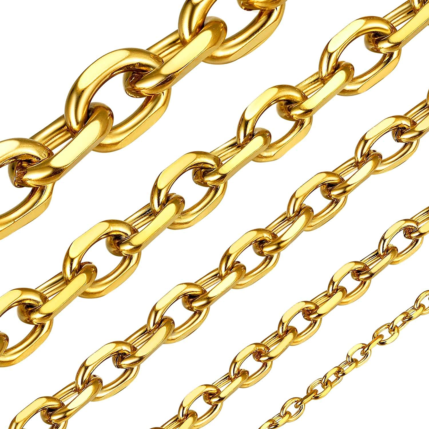 """ChainsHouse Men Women Chain 3MM/5MM/7MM/9MM/12MM Rolo Necklace, Stainless Steel/Black Gun Plated/18K Gold Plated Rolo Cable Link Necklace, 18"""" - 30"""""""