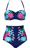 Spring fever Womens High Waisted Retro 50s Floral African Print Halter Tankini Swimsuits(FBA)