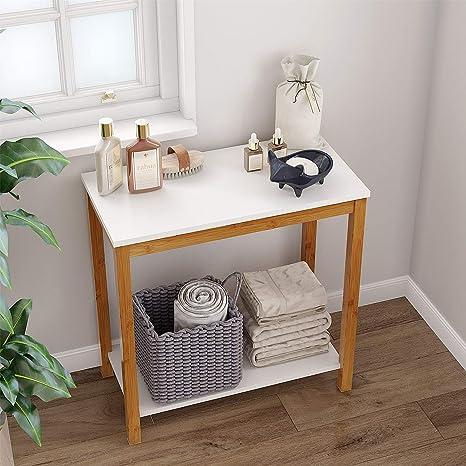 Amazon.com: BAMEOS - Mesa auxiliar de bambú para sofá, mesa ...