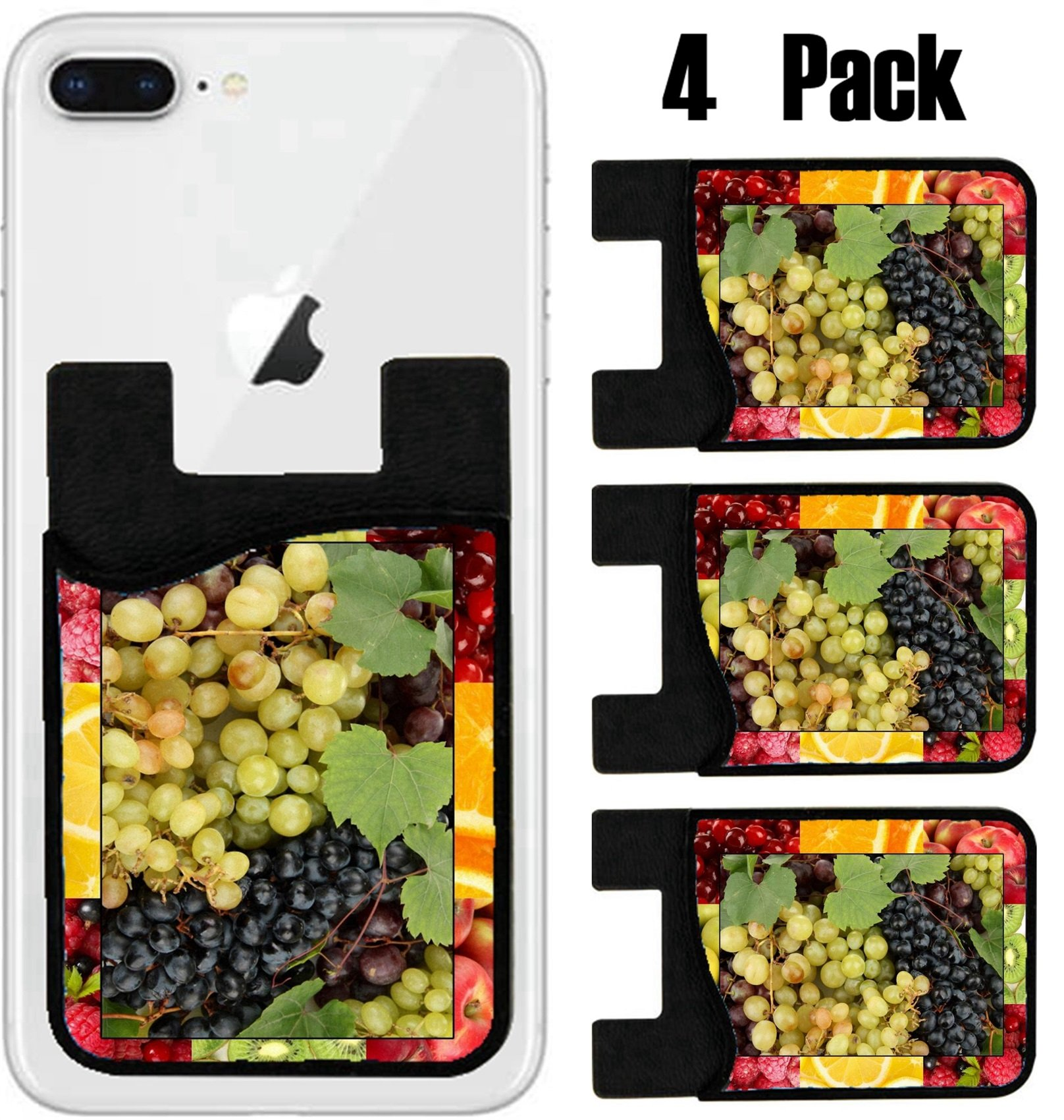 MSD Phone Card holder sleeve wallet for iPhone Samsung Android and all smartphones with removable microfiber screen cleaner Silicone card Caddy(4 Pack) IMAGE ID 20649531 Colorful healthy fruit collag
