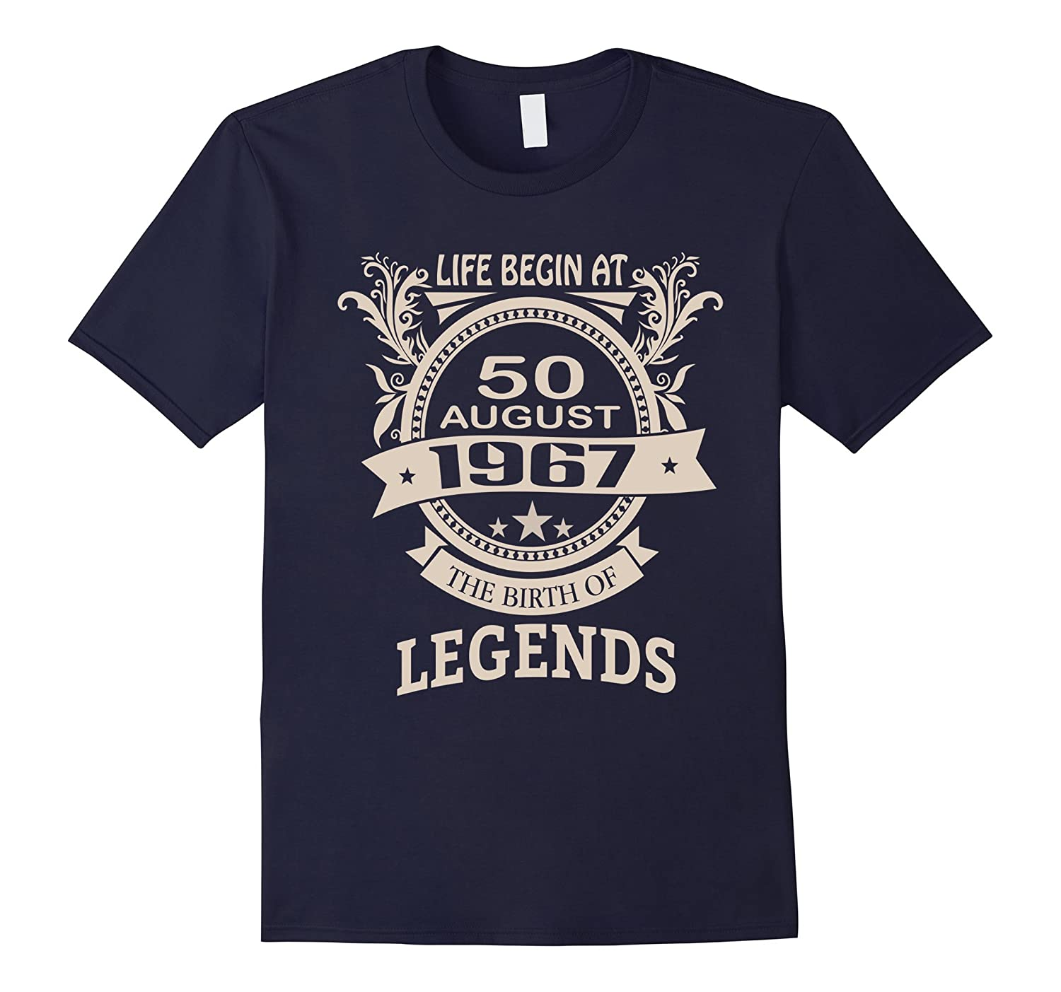 50th Birthday T-Shirt Made in 1967 Life Begins Shirt-Art
