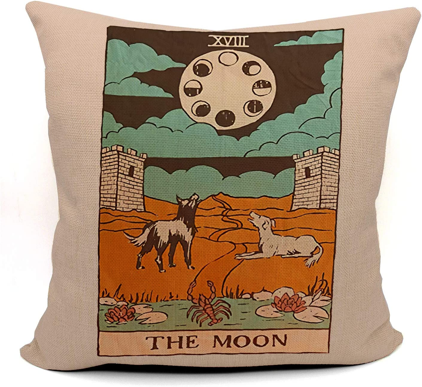 Tarot The Moon Dog Throw Pillow Case, Gift for Daughter, Sister, Mom, Gift for Astrology Lovers, Tarot Lovers,Girl Room Decor, College Dorm Decor, 18 x 18 Inch Linen Cushion Cover for Sofa Couch Bed