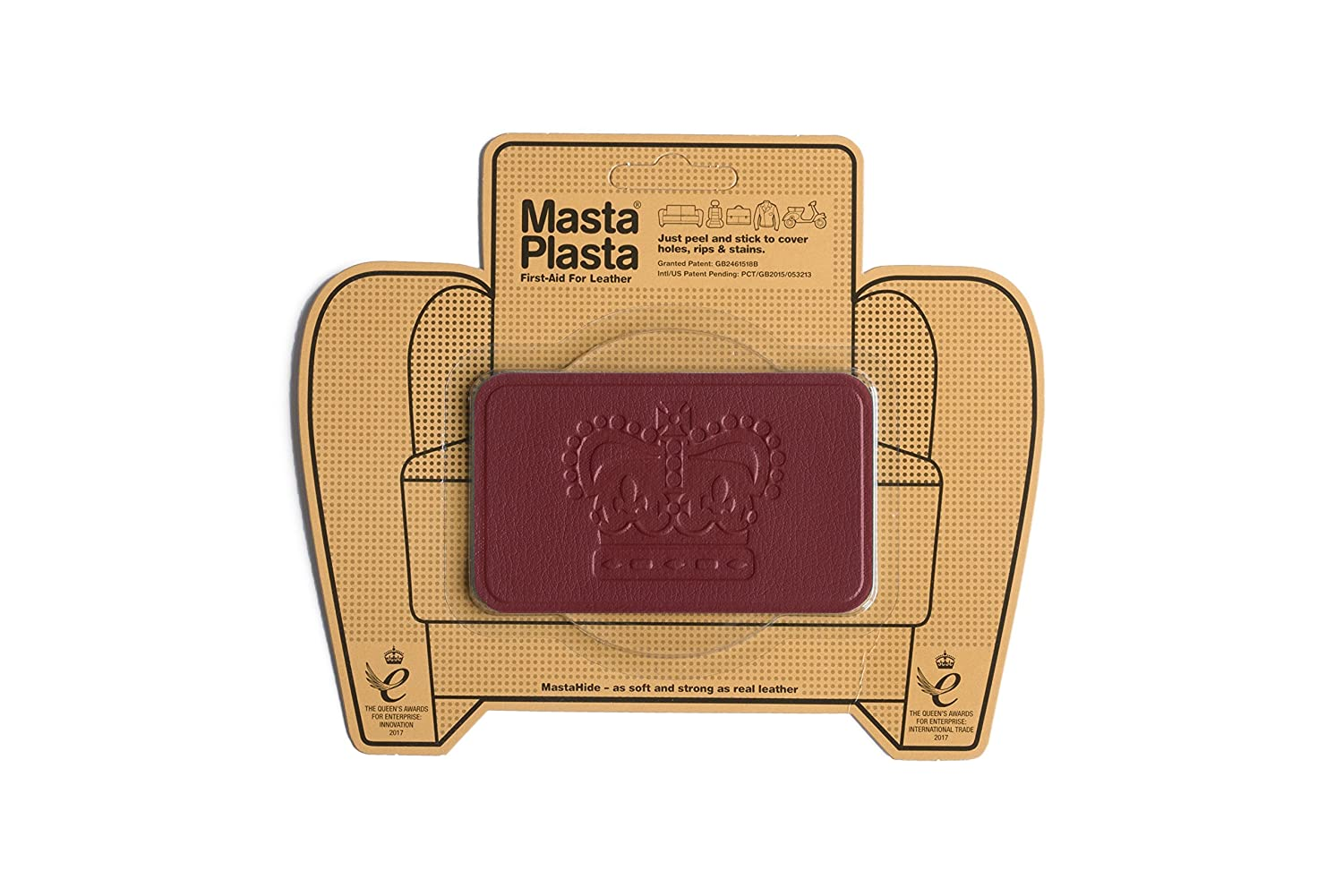 MastaPlasta Self-Adhesive Patch for Leather and Vinyl Repair, Crown, Tan - Multiple Colors Available Mastaplasta Limited TANCROWN4X2.4USA