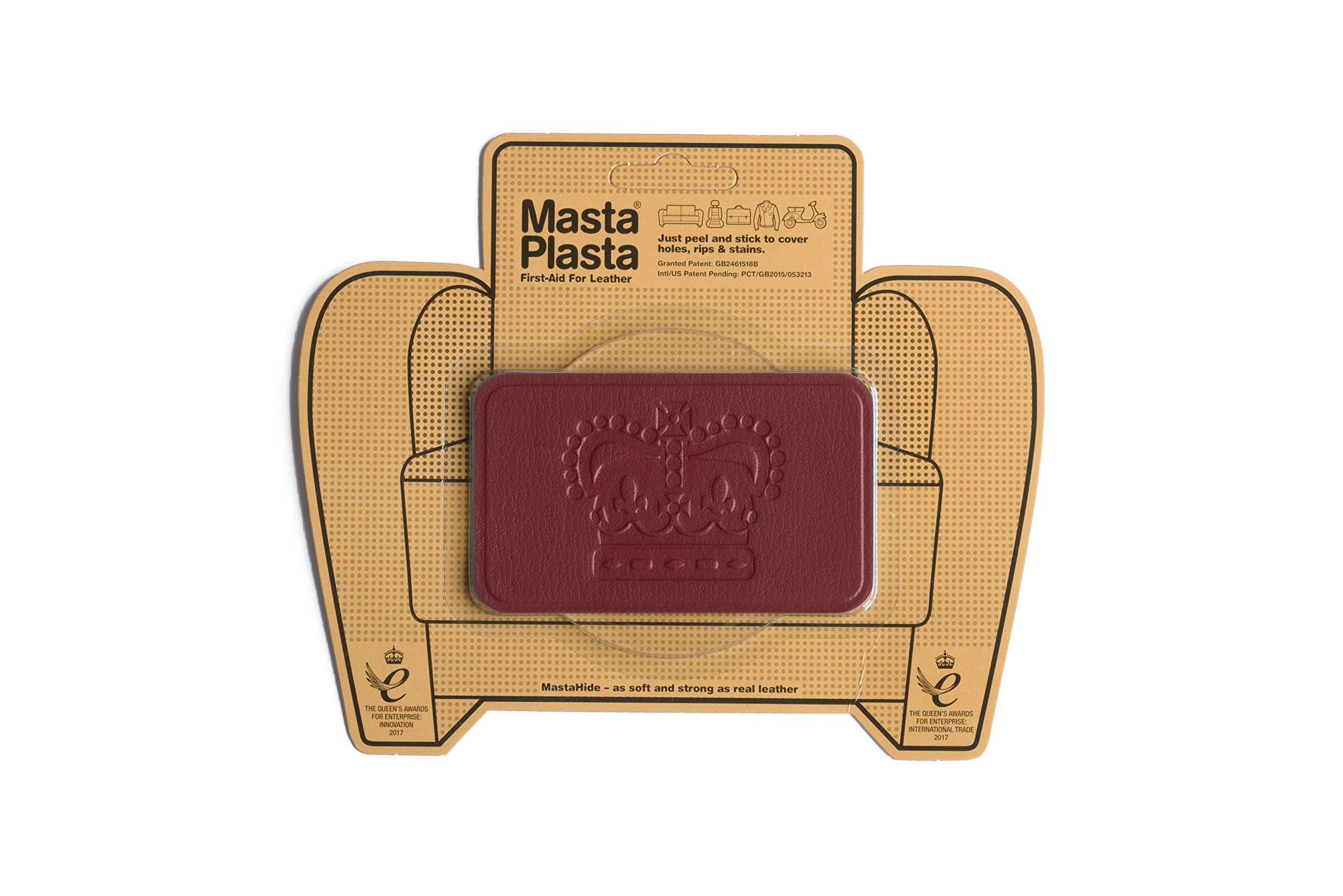 MastaPlasta, Leather Repair Patch, First-aid for Sofas, Car Seats, Handbags, Jackets, etc. Red Color, Crown 4-inch by 2.4-inch, Designs Vary