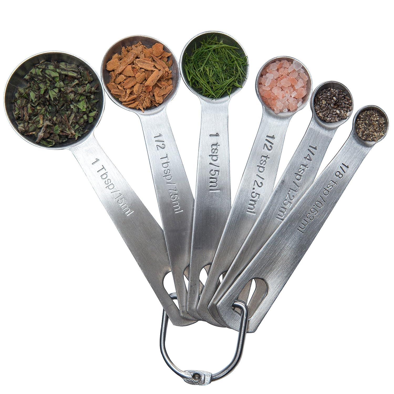 Latest 6-Piece Measuring Spoon Set - 1/8 TSP, 1/4 TSP, 1/2 TSP, 1 TSP, 1/2 Tbsp & 1 Tbsp Stainless Steel Measuring Spoons - Essential Kitchen/Bakeware Utensils Chef Remi