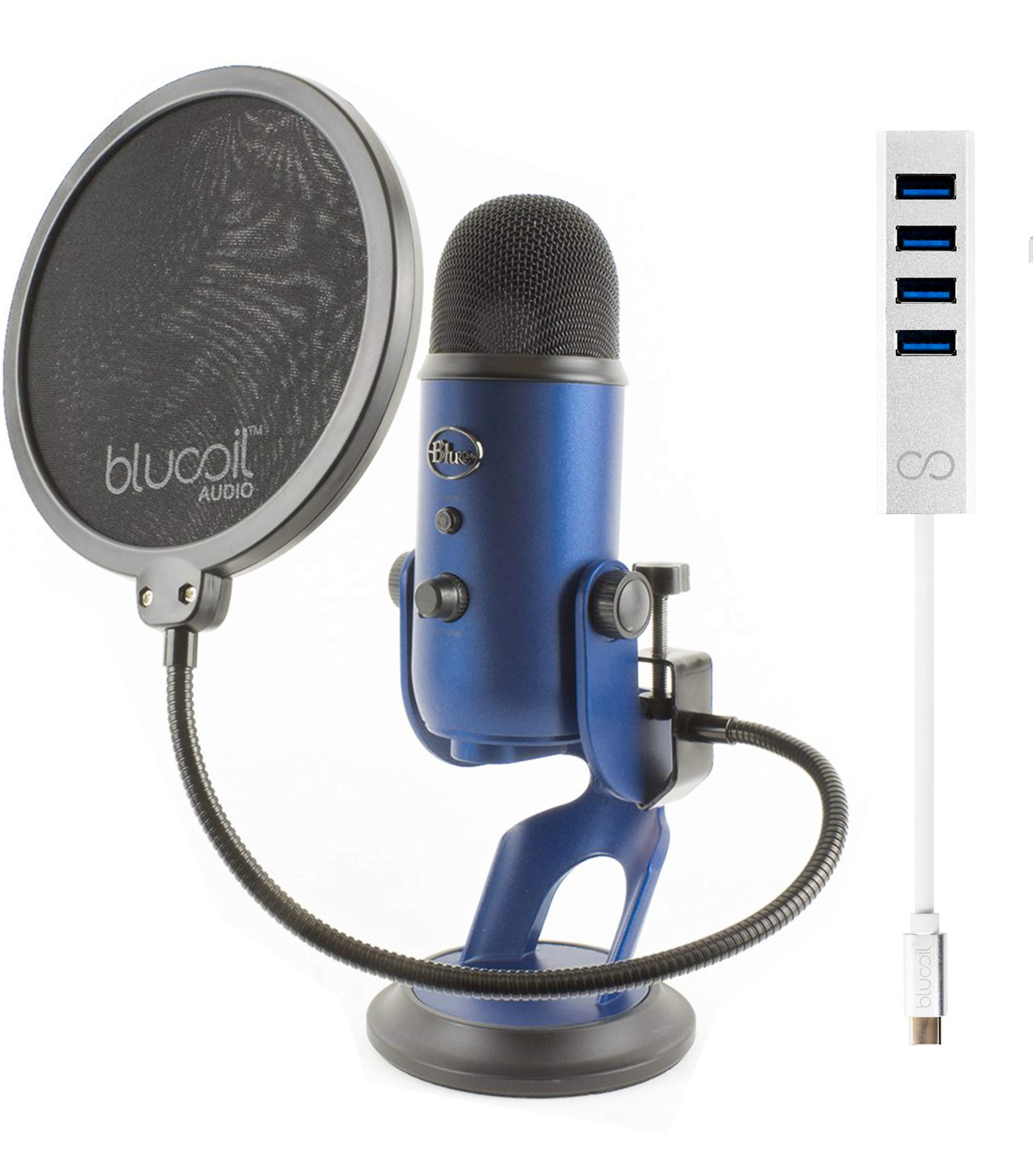 Blue Microphones Yeti USB Mic for Pro Studio Recording (Midnight Blue) Bundle with Blucoil USB C-Type Mini Hub with 4 USB Ports and Pop Filter Windscreen