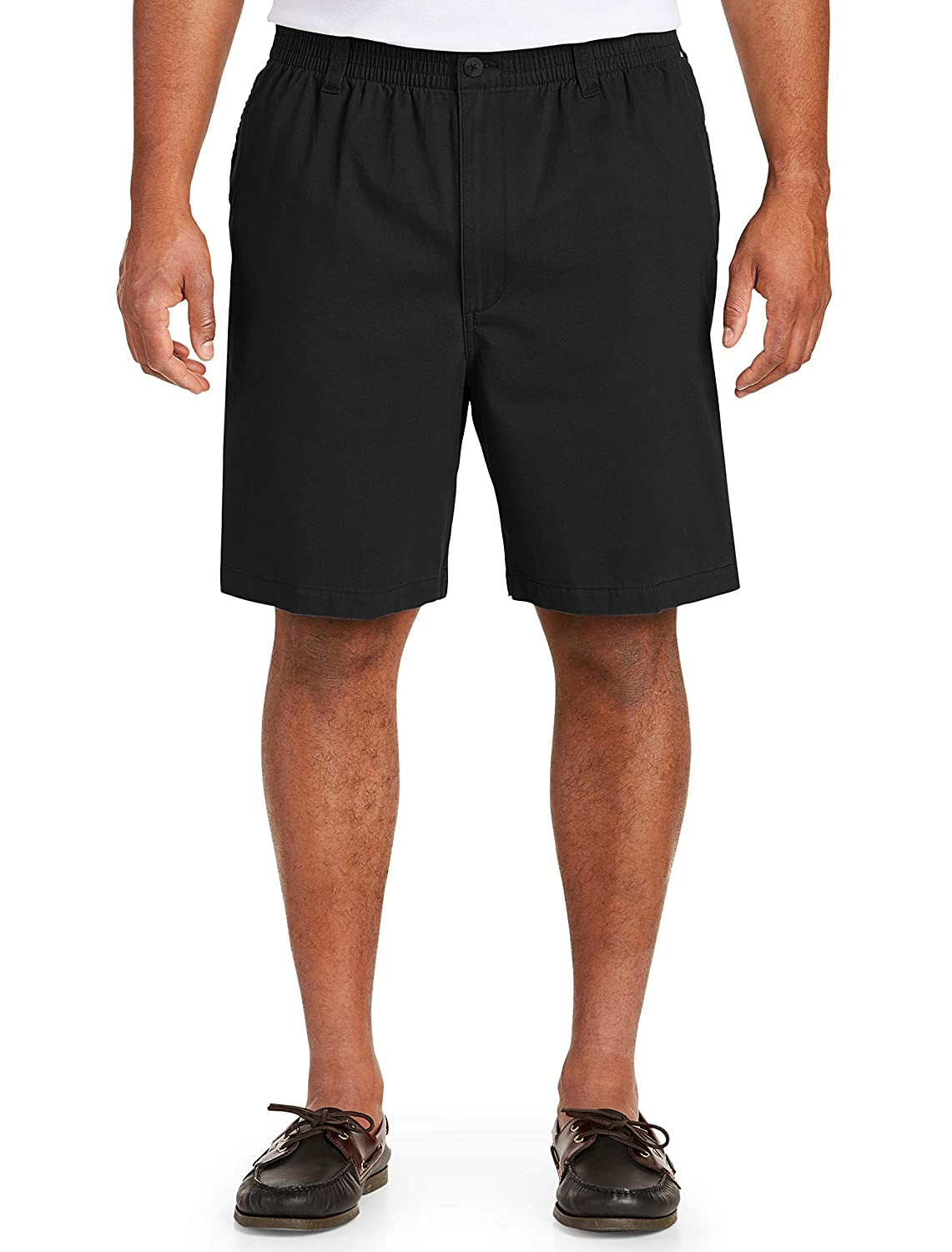 4X Harbor Bay by DXL Big and Tall Elastic-Waist Twill Shorts-Updated Fit Black