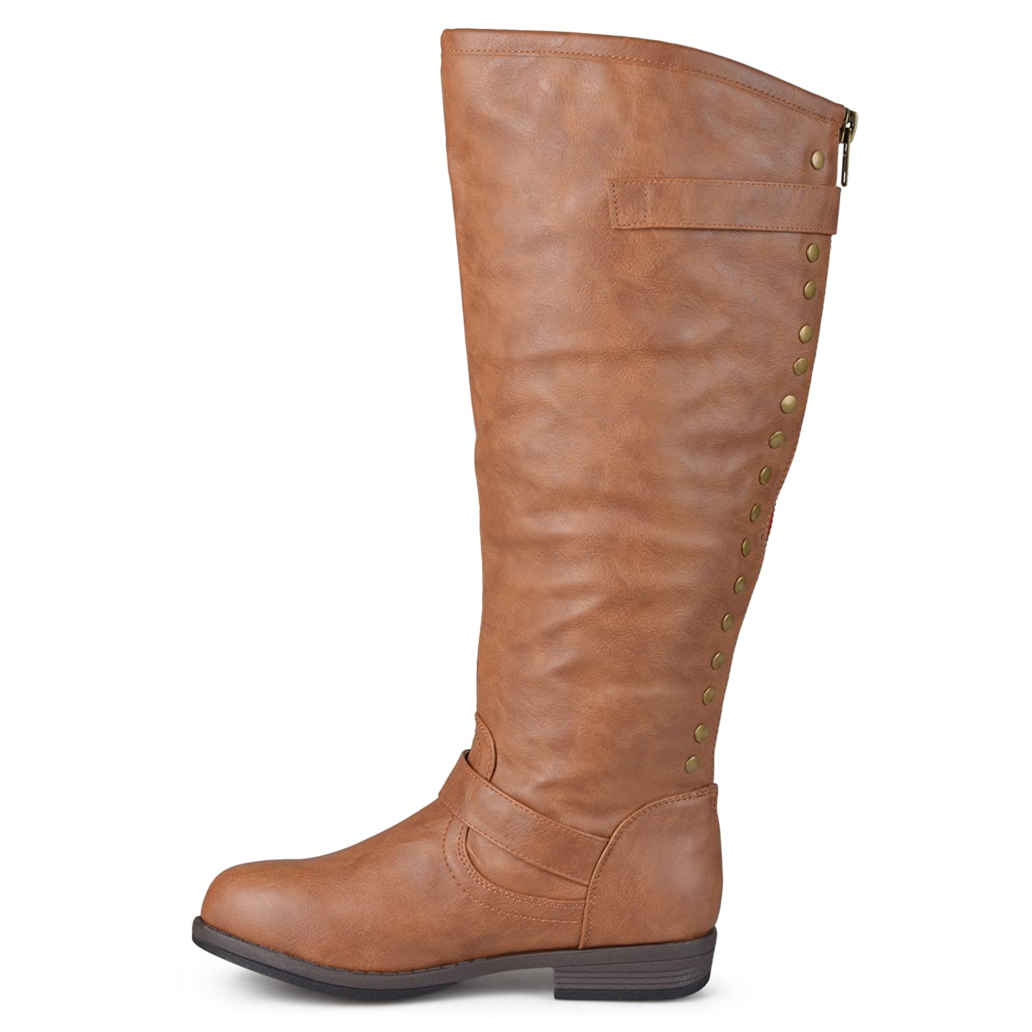 Journee Collection Womens Regular Sized, Wide-Calf and Extra Wide-Calf Studded Knee-High Riding Boot B01139QIAM 11 B(M) US|Chestnut Wide Calf