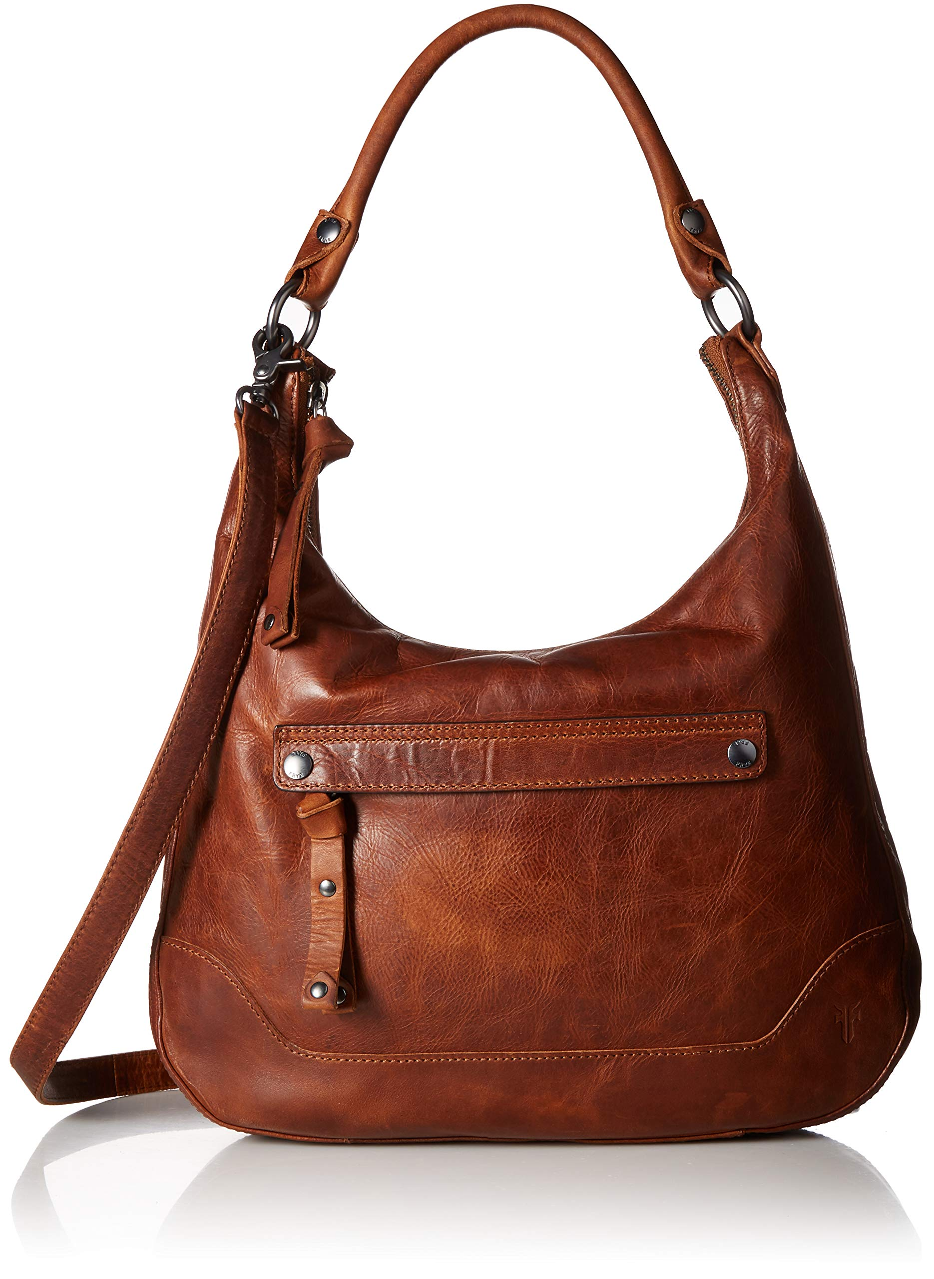 FRYE Melissa Zip Leather Hobo Handbag, cognac
