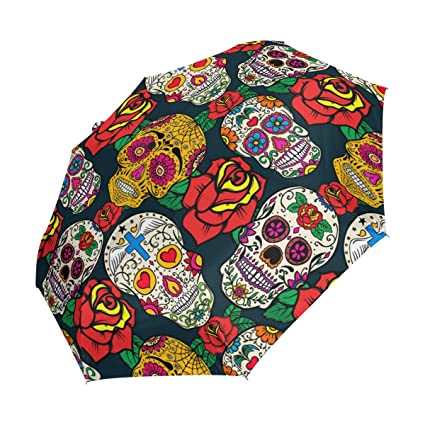 YZGO Compact Travel Umbrella Mexico Day Dead Sugar Skull Windproof & Waterproof Umbrella Canopy - Auto Open Easy Carrying for Car