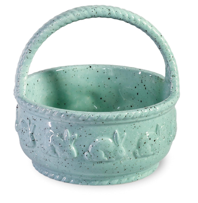 Boston International Spring Hare Ceramic Bowl and Spreader, Blue BIP16090