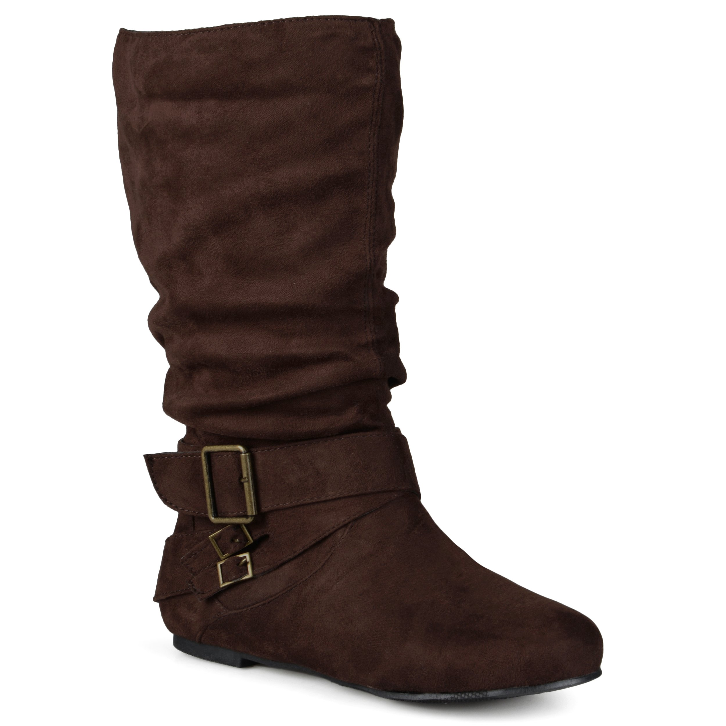 Journee Collection Womens Regular Sized and Wide-Calf Buckle Slouch Mid-Calf Boots Brown, 9.5 Wide Calf US