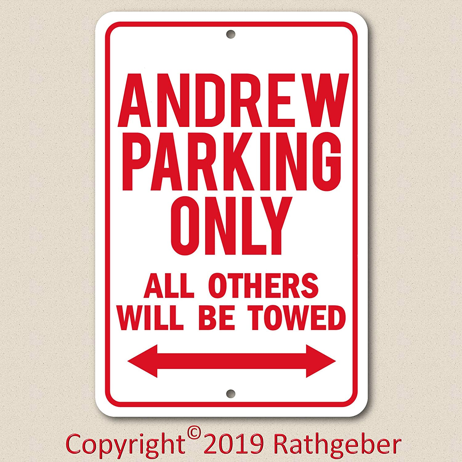 Andrew Voss Collectables Parking Only Aluminum Sign with All Weather UV Protective Coating 8x12 with mounting Holes