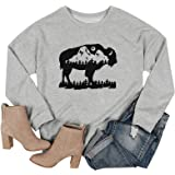 Western Buffalo Cactus Graphic Tees for Women Vintage Cow Sunshine T-Shirts Casual Tops