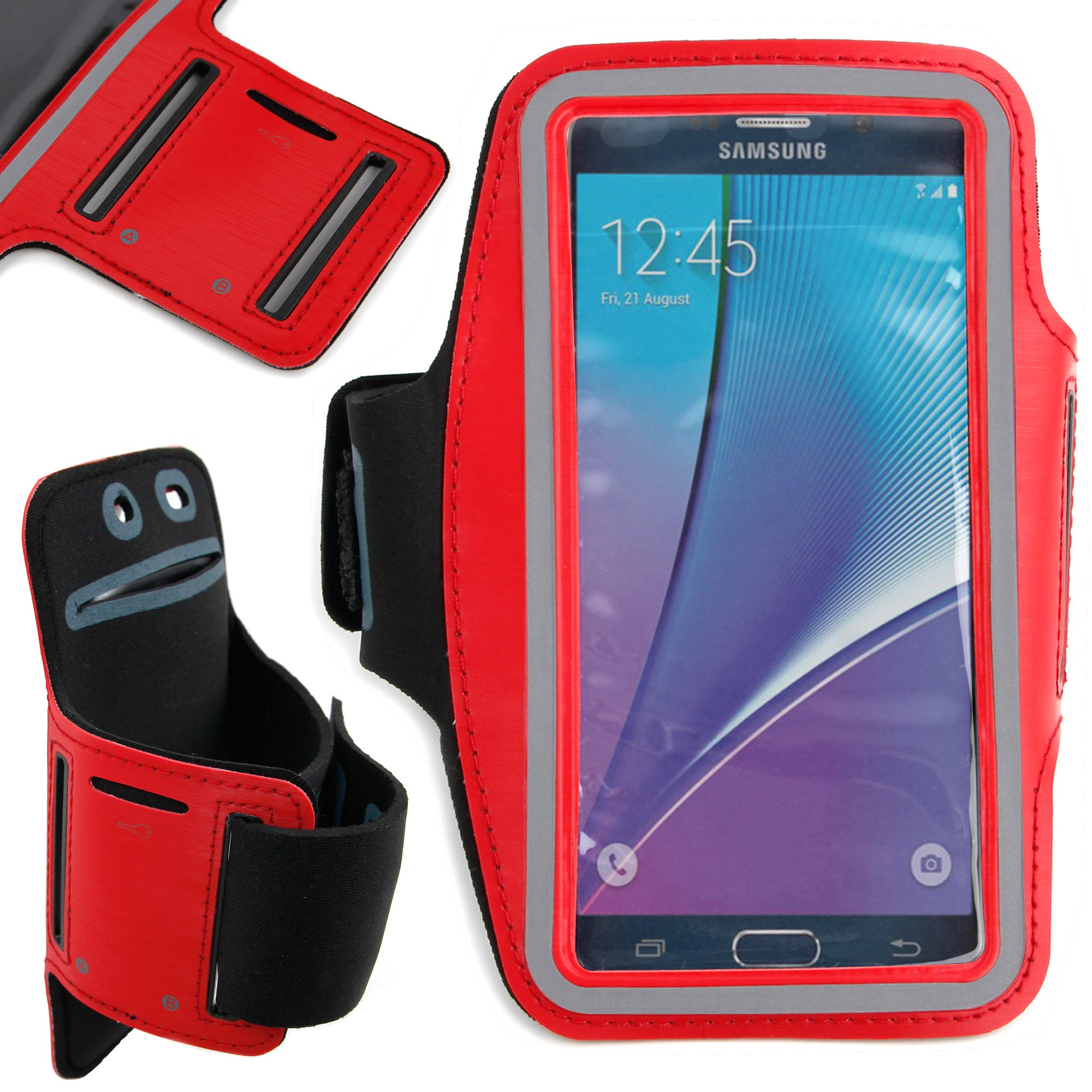 DURAGADGET Premium Quality Unisex Sports Armband in Red - Compatible NEW Samsung Galaxy Note5 (Android OS v.5.1.1 Lollipop, 5.7'' Touchscreen, Quad-Core 1.5 Ghz)