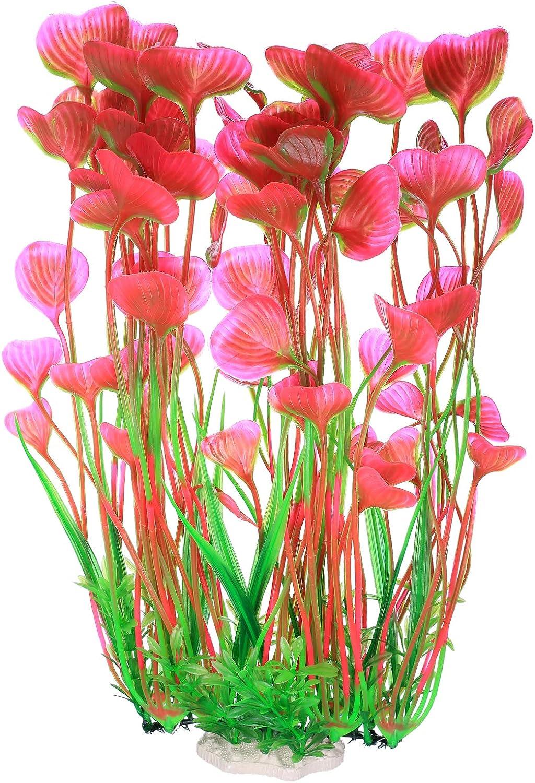Plantas Acuáticas Artificiales, Plantas de Acuario Decoraciones Plásticas del Tanque de Peces, Plantas Artificiales Accesorios Acuario - 15.7 Pulgadas/Rosa