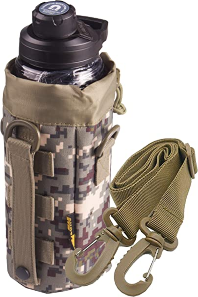Open Top Tactical Molle Water Bottle Pouch Holder Kettle Bag w// Belt Clip
