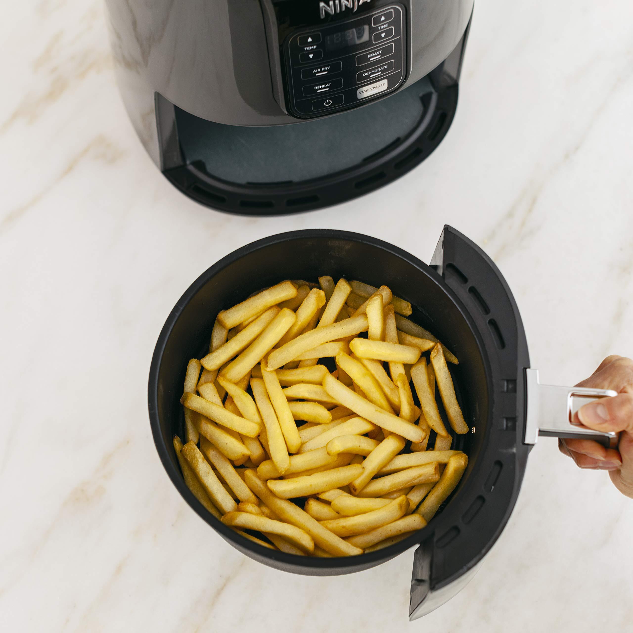 Ninja Air Fryer, 1550-Watt Programmable Base for Air Frying, Roasting, Reheating & Dehydrating with 4-Quart Ceramic Coated Basket (AF101), Black/Gray by Ninja (Image #6)