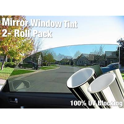 "Complete Mirror Car Window Wrap Tint Glass Vinyl Film 30"" x 60"" 2-roll Combo Pack: Automotive"
