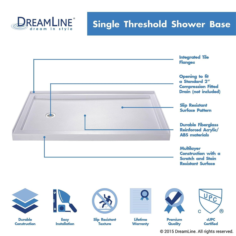 Single Threshold Shower Base, Left Hand Drain, DLT 1132601     Amazon.com