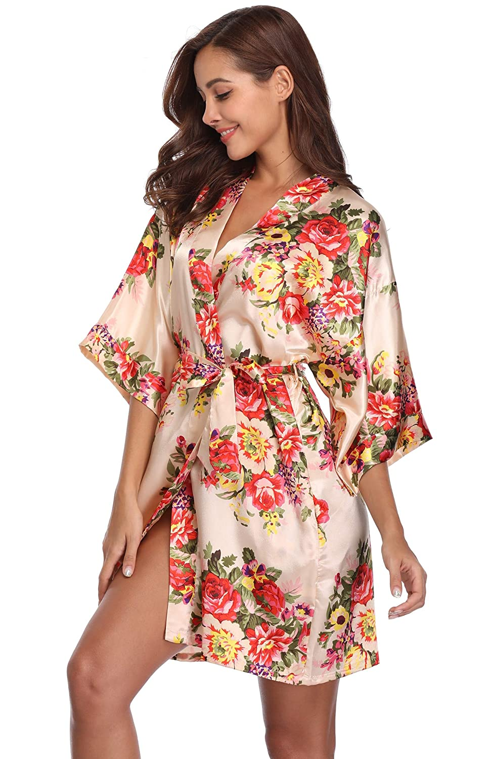 Champagne MASELEY Women's Floral Satin Kimono Short Style Bridesmaids Robes with Pockets for Wedding Party