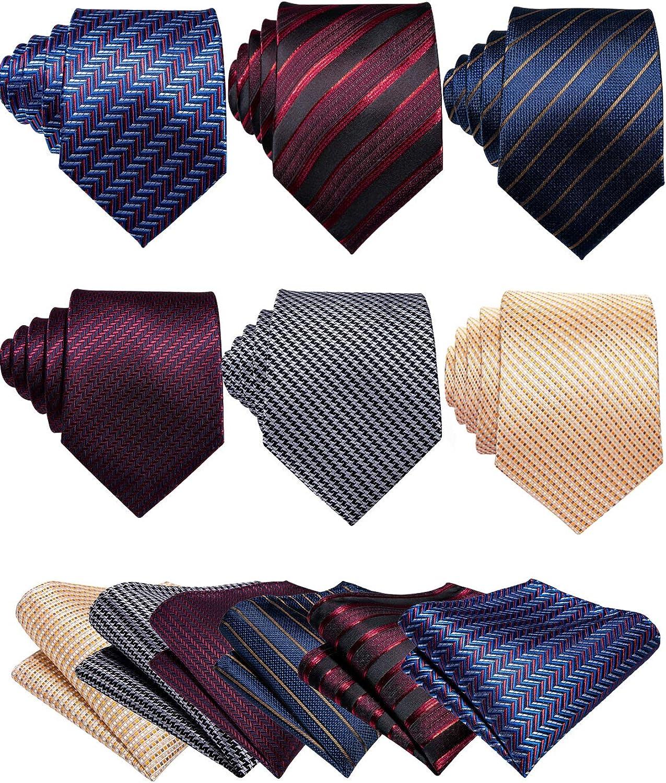 Barry.Wang Solid Necktie Handkerchief Silk Wedding Tie and Pocket Square Set Formal